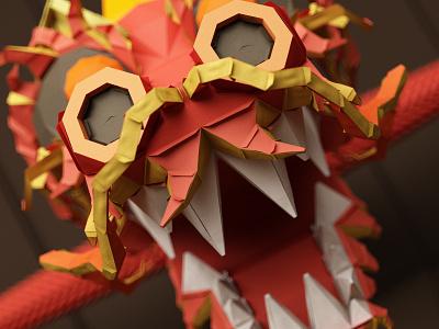 Paper Dragon paper dragon c4d cinema4d character 3d funny low poly cartoon