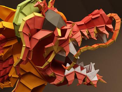 Paper Dragon 2 paper dragon c4d cinema4d character 3d funny low poly cartoon