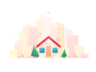 Happy New Year happy new year merry christmas illustrator 2d gradient pink snow house city