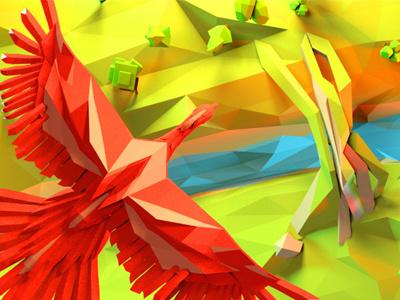 Red bird cinema 4d lowpoly 3d character landscape bird
