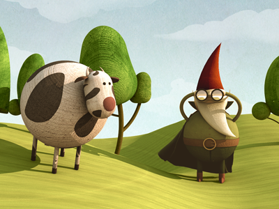 Main dwarf with cow dwarf cow character fairy tale tree tale motion texture graphic design concept art wood yellow sun graphics fun animation sky cartoon cloud cute 3d cinema 4d illustration green red landscape nature c4d