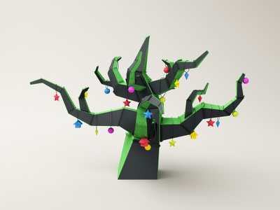 Paper Tree paper tree c4d 3d cinema 4d black green decorations xmas christmas funny low poly