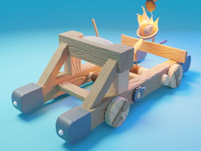 Low Poly Catapult render lowpoly low polygon blender blue catapult fantasy medieval game art low poly