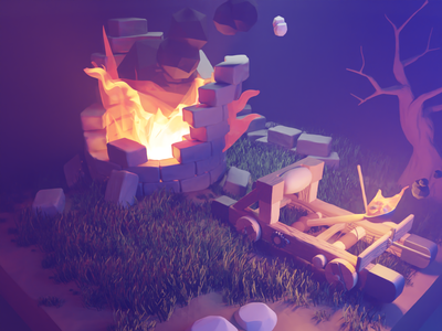 Tower Siege by Catapult gaming game art fire tower catapult fantasy medieval blender lowpolygon lowpoly low poly 3d
