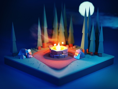 S'mores blender blender 3d moon trees low poly campfire