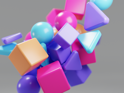Floaty shapes orange purple blue illustration animation blender 3d blender shapes