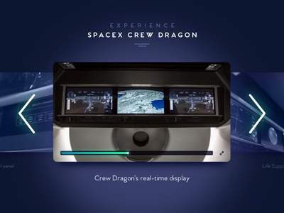 SpaceX Crew Dragon Multimedia Carousel minimal spacex highlight blue ui video carousel multimedia space