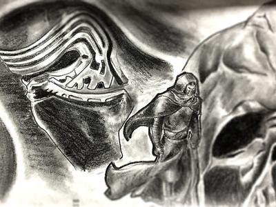 Kylo Ren and Darth Vader star wars darth vader kylo ren dark helmet illustration pencil sketch