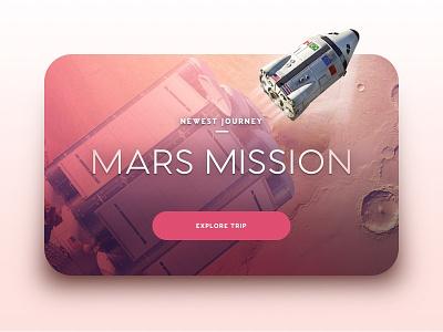 Space Tourism - Mars Mission apple tv space tourism destination user rocket mars pink app web card ui space