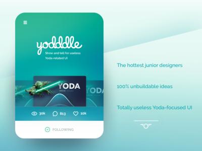 Introducing Yodddle! star wars daily ui mock blue green inspiration yoda card ui useless