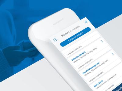 Watson Conversation mobile design ui natural language web app cards ai cerulean blue mobile conversation watson ibm
