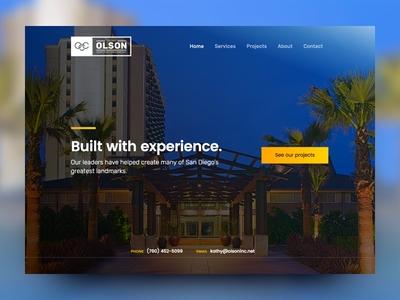 Homepage header design cta hero header branding blue website ui construction