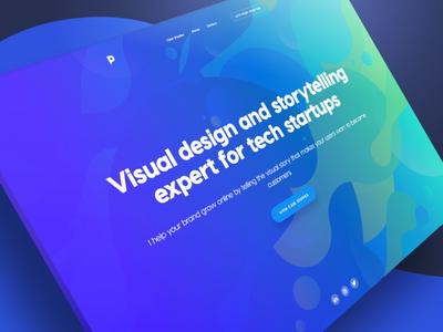 New PRSN.co portfolio redesign ui visual design 3d isometric pattern tech storytelling tagline header purple blue portfolio