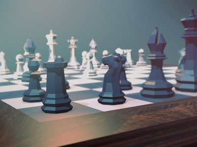 Low poly chess set in Blender chess set low poly dof render game board chess 3d blender