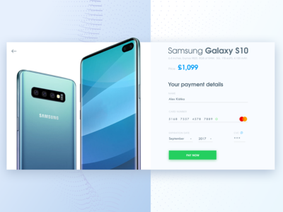 Samsung S10 Credit Card Checkout Page