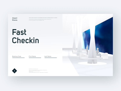 Fast Check-in Screen - 3D concept minimal airport flight checkin motion after effect animation website layout visual 3d concept design ui