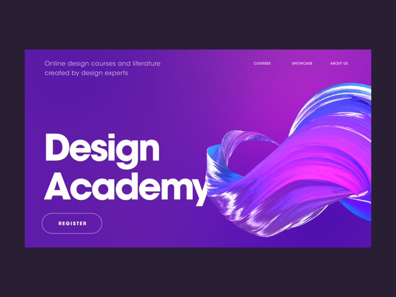Design Academy Site - Hero banner art abstract art visual art learning academy gradient color colorful product design website ux product abstract 3d visual layout concept design ui