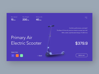 Scooter - Select Color web design vehicle electric exploration figmadesign figma product picker color scooter aftereffects uxui animation website 3d visual layout concept design ui