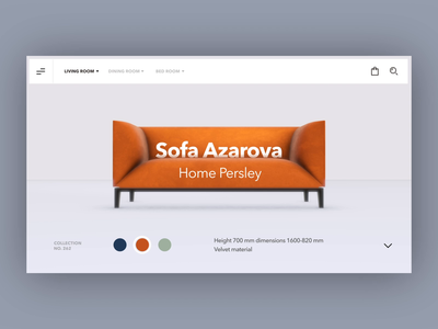 Sofa Product Page - 3D Concept dailyui uxui product design product motion furniture store furniture design furniture website 3d layout visual concept design ui