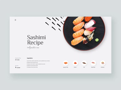 Sashimi Recipes - Cooking Site cooking app handbook chefs cooking chef website product uxui layout visual concept design ui