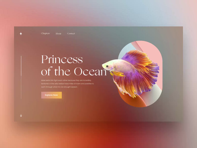 Siamese fighting fish Story abstract animal ocean fishes siamese fish story website animation product uxui layout visual concept design ui