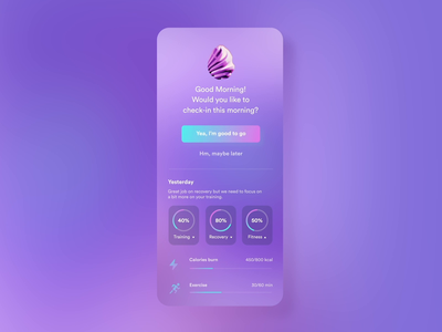 A.I Fitness Coach activity activities exercise health tracking app tracker a.i. ai fitness animation app product uxui 3d layout visual concept design ui