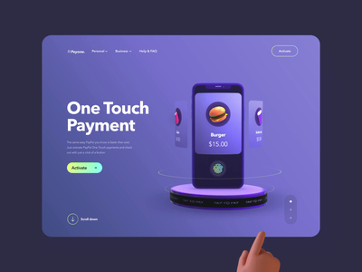 One Touch Payment - Website concept payment hand aftereffects animation product uxui 3d layout visual concept design ui