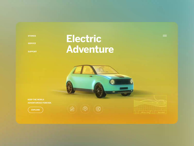 Electric Vehicle 3D Website Concept aftereffects vehicle automotive car product design effect animation product uxui layout visual concept design ui