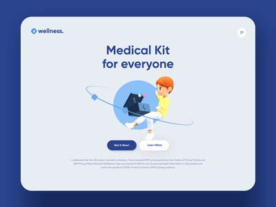 Medical Kit 3D Concept 3dcharacter lab athome test health product uxui 3d layout visual concept design ui
