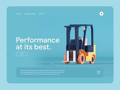 Forklift 3D Site -Concept concept visual management warehouse forklift website 3d animation ui