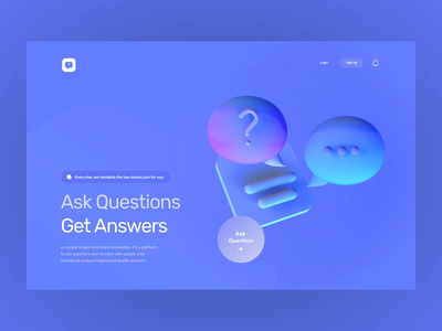 QA Product Landing Page - 3D Exploration animation answer questions qa visual 3d uxui layout concept design ui