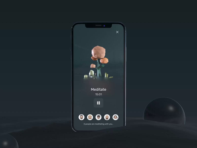 3D Concept - Meditation App calm relax chill meditate meditation uxui 3d layout visual concept design ui