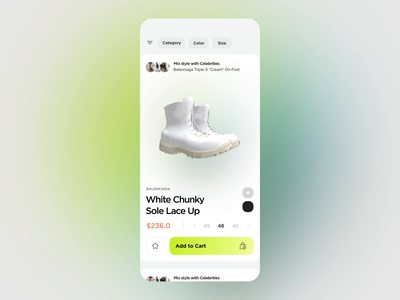 Shopping App -  Swipe Interaction gradient shoes cloth swipe layout product uxui animation app shopping concept demo interaction ui