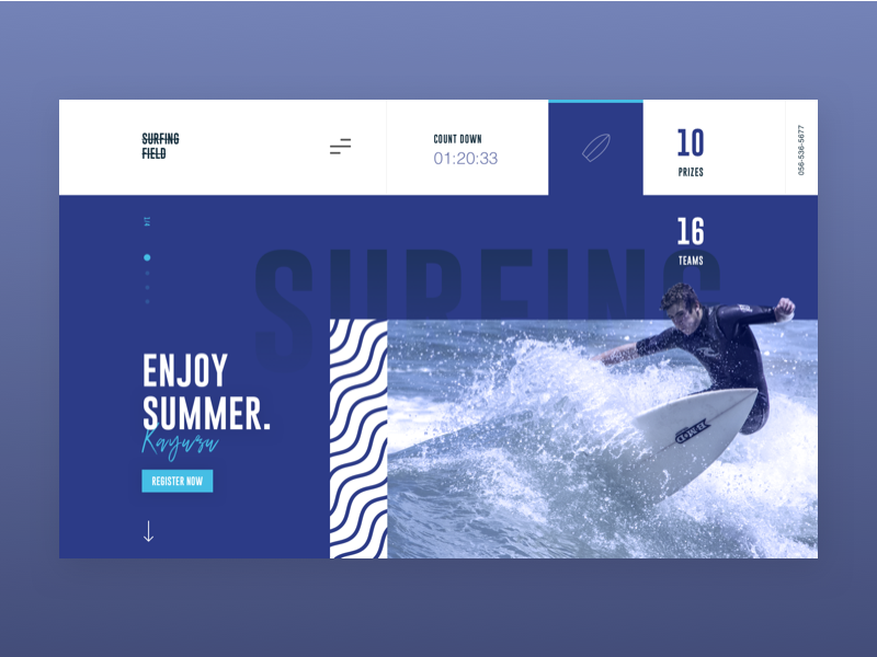 Surfing Competition onepage surf landing website design concept ui sport