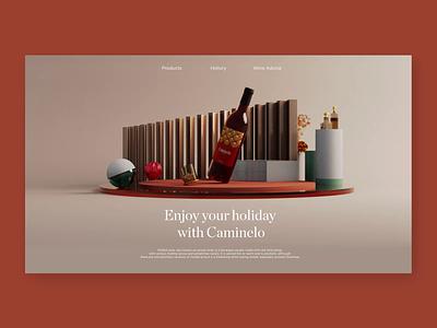 Caminelo Website - Wine 3D Concept wine bottle winery site wine website animation layout concept 3d design ui