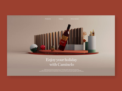 Caminelo Website - Wine 3D Concept wine bottle winery site wine website animation layout concept 3d design ui