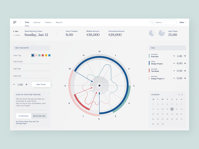 Time Management Dashboard dashboard design dashboard ui calendar timetracking timetracker time webdesign product design visual dailyui dashboard layout concept design ui
