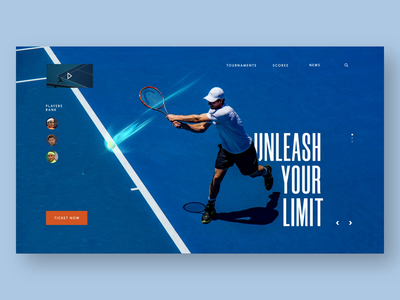 Tennis Site after effect typography sport tennis uxui figmadesign aftereffects figma website layout visual concept design ui
