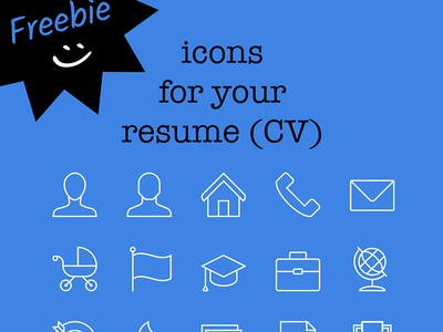 Freebie! 15 icons for your resume (CV) career work job symbols freebie iconset icons