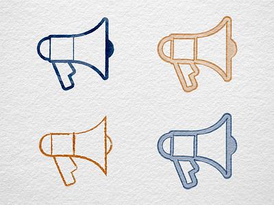 Megaphone icon (digitally painted) dutch design icon designer sketch digital painting craft draft wip pictogram symbol icon