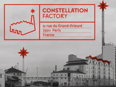 Constellation Factory  constellation outline identity star factory movie studios logo lettering