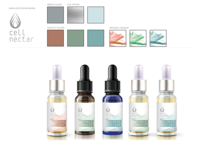 Cell Nectar packaging branding logo serums facial oil dermaceuticals