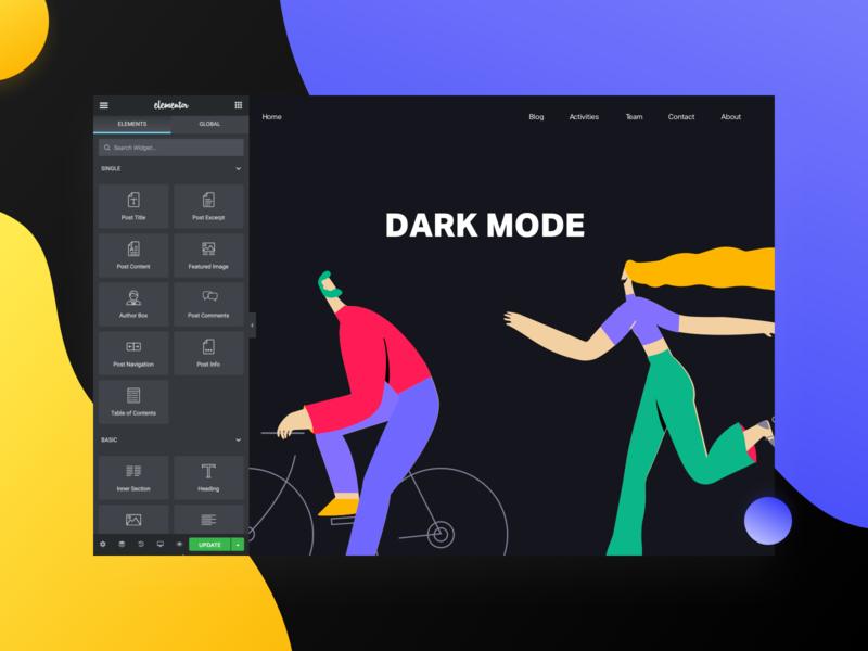 Dark Mode interfacedesign ui design ui future interface dark theme dark mode dark ui elementor