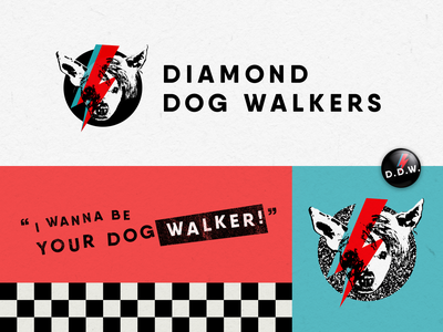 Diamond Dog Walkers Branding punk rock and roll pins buttons business card small business pets dogs animals branding and identity branding
