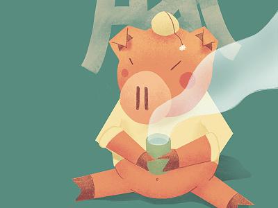 Tokio teaft japan pig asia tea tokio art character dribbble