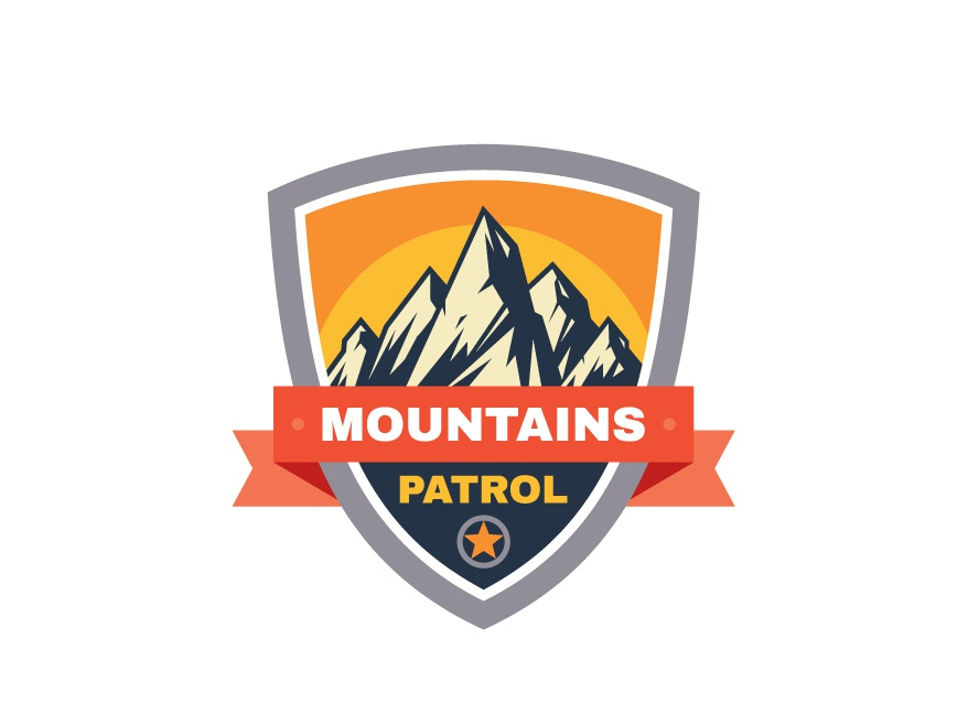 Mountains Patrol Badge design tourism travel hiling climbing shield emblem badge logo patrol mountains mountain