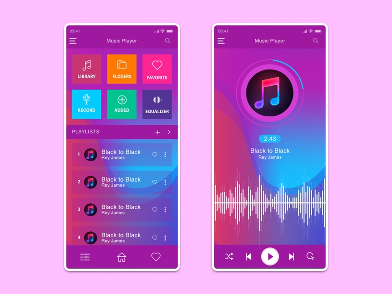 Music Player App hmsdesigns digital designer product designer freelancer ux designer ui designer web designer graphic designer app designer app concept app ui application app design app playlist music art music player music app music