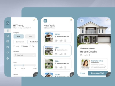 Real Estate App graphic designer ui designer freelancer app ui application design application ui creativity inovation ideas design ui rental app buy house houses mobile app app app design realestate