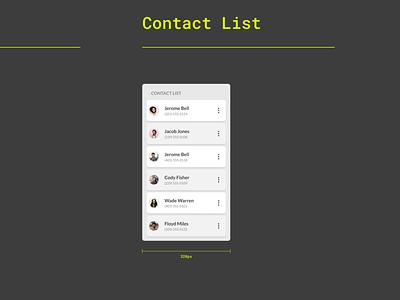 Minimalist Contact List design app responsive design minimalist users contacts list