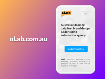 oLab - Website Design, Responsive Mobile Version minimalist cta website banner agency website responsive mobile design website design